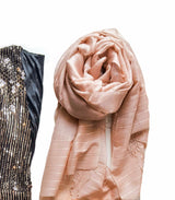 Pink tussar silk hand woven scarf
