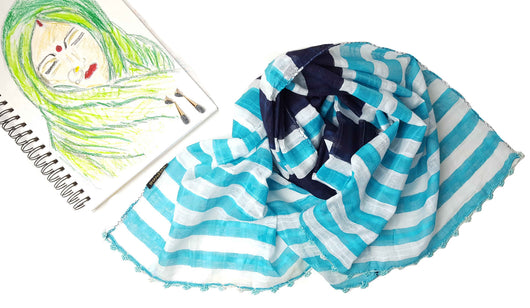 Blue Striped Cotton scarf with hand crochet lace