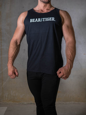 Bear Eats Tiger beareatstiger tshirt kleren fitness clothing gym crossfit black and white tanktop stringer gymshirt
