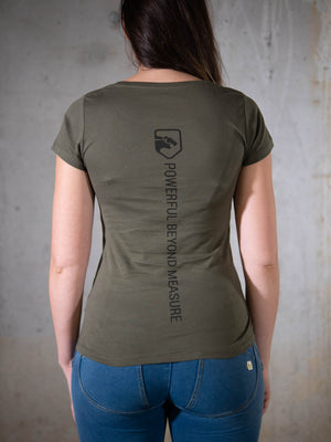 Bear Eats Tiger beareatstiger tshirt kleren fitness clothing gym crossfit limited edition khaki green beatst powerful beyond measure vrouwen women
