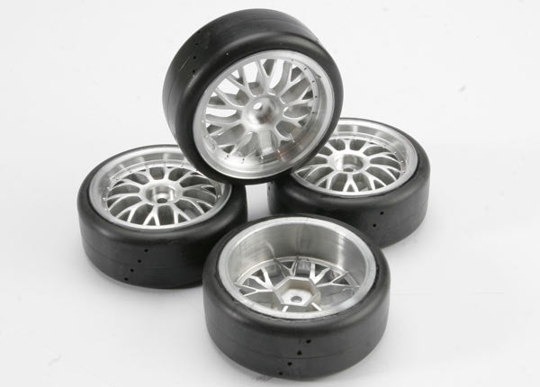 TRA4873 Tires, Pro-Trax on-road (medium compound with contoured inserts) (mounted and glued to part #4872 wheels) (2 left, 2 right)