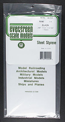 "EVERGREEN PLAIN STYRENE .040x6x12"" (2) (Part # EVG9040)"