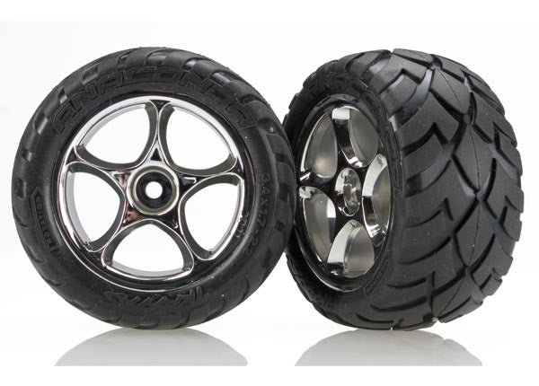 TRA2478R Tires & wheels, assembled (Tracer 2.2' chrome wheels, Anaconda 2.2' tires with foam inserts) (2) (Bandit rear)