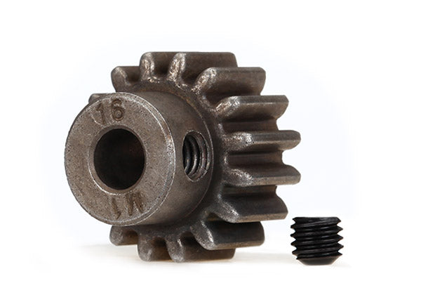 TRA6489X Gear, 16-T pinion (1.0 metric pitch) (fits 5mm shaft)/ set screw (compatible with steel spur gears)