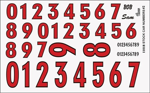 1/24-1/25 Stock Car Numbers #2 (Red) (PART# GOF-11018)