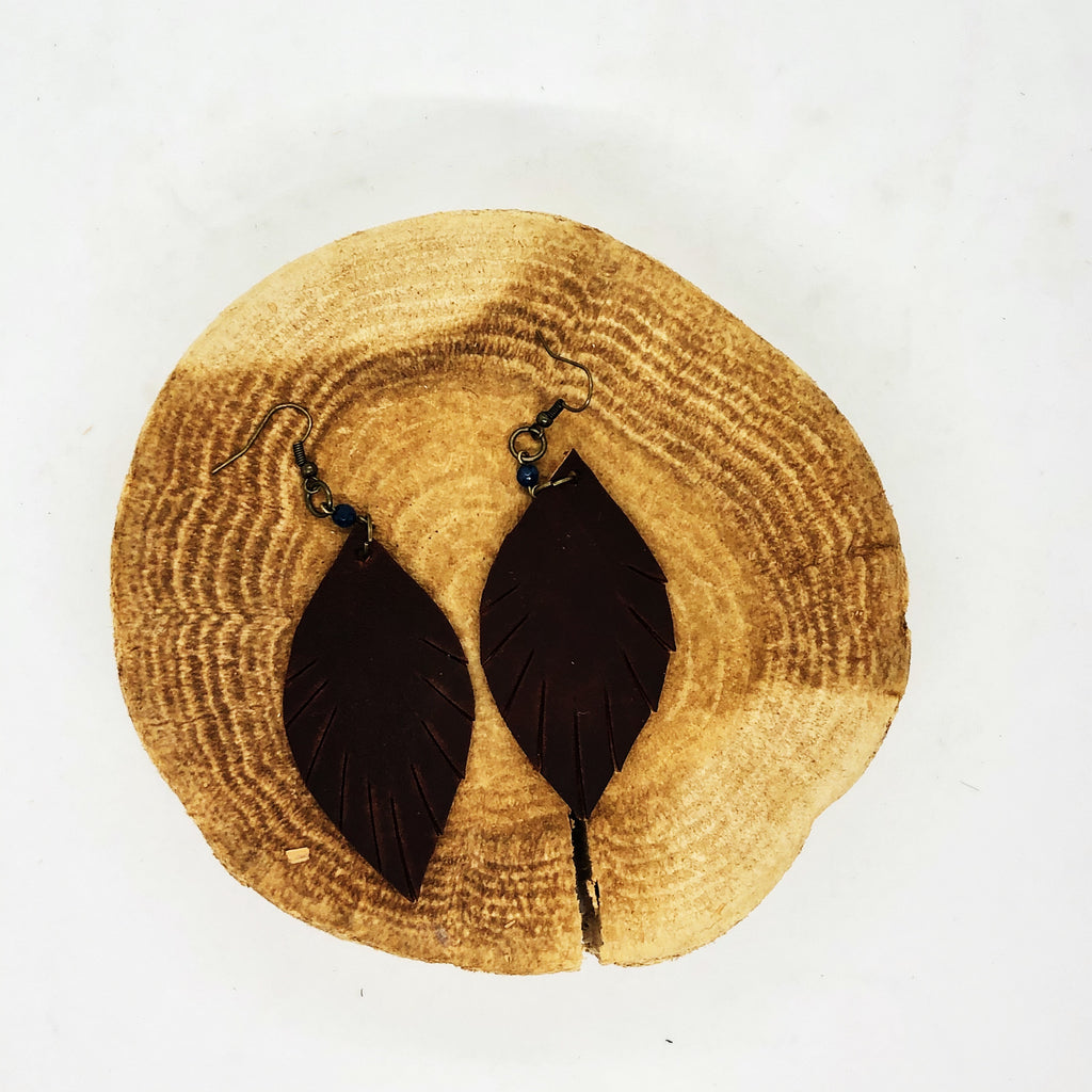 Leather Earrings - Dark Brown