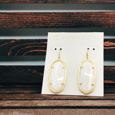 Kendra Scott Gold & White Drop Earrings