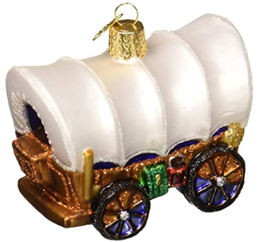 "Old World Christmas ""Covered Wagon"" Glass Ornament"