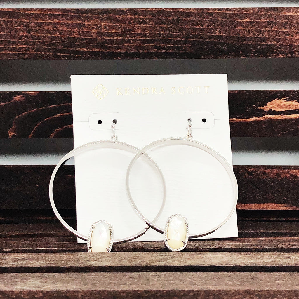 Kendra Scott Silver & White Hoop Earrings