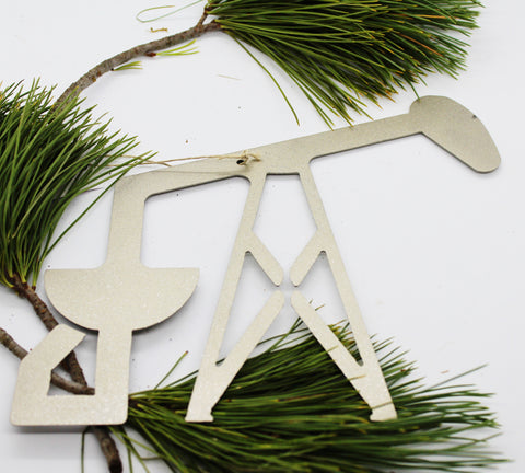 Silver Metal Pumpjack Ornament