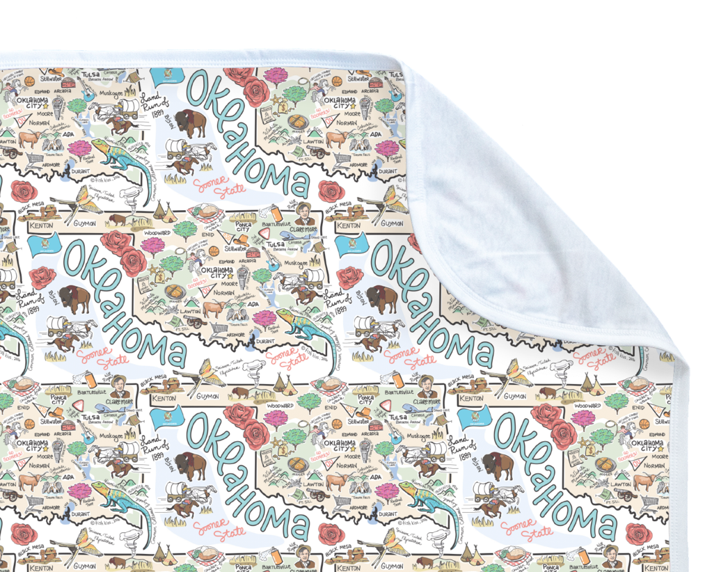 Fish Kiss Oklahoma Map Baby Blanket - PIMA