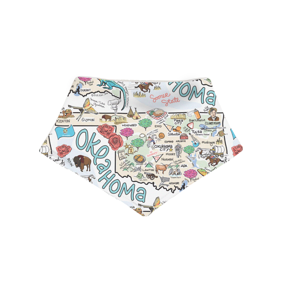 Fish Kiss Oklahoma Map Bandana Bib
