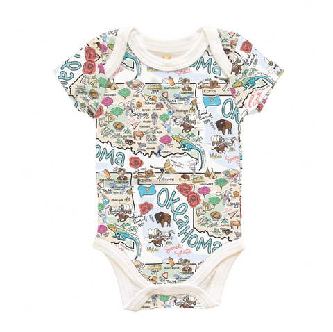 Fish Kiss Oklahoma Map Baby One-Piece - PIMA