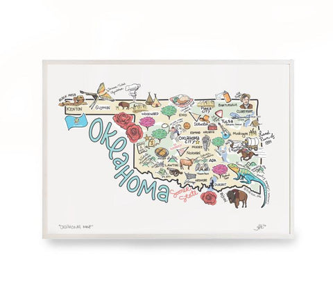 Fish Kiss Oklahoma Map Print