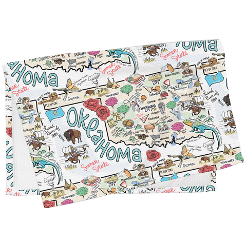 Fish Kiss Oklahoma Map Tea Towel