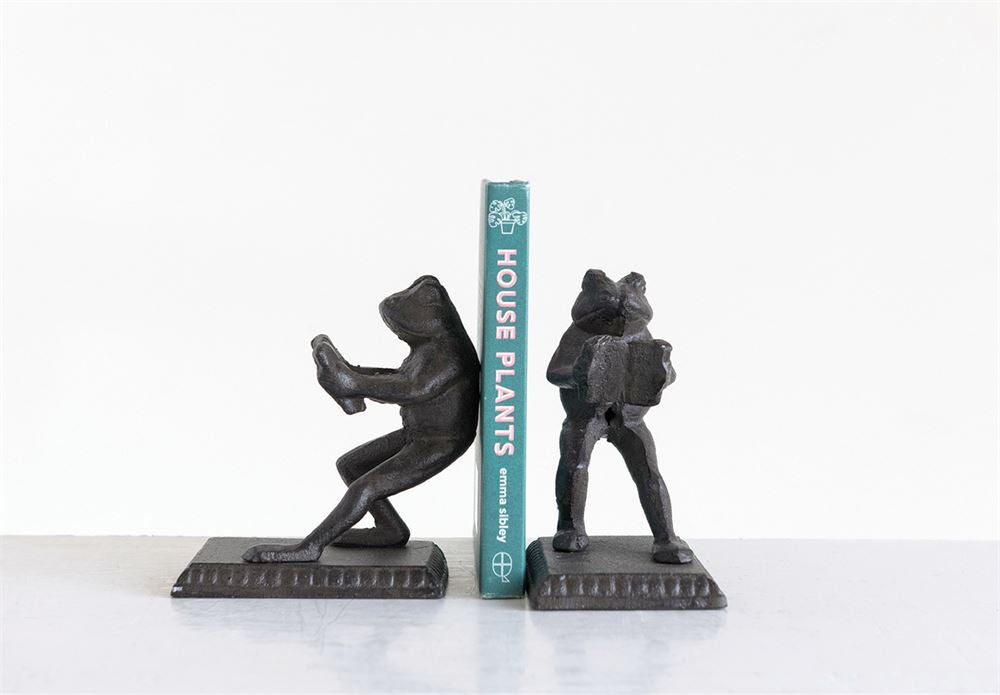 Cast Iron Frog Bookends