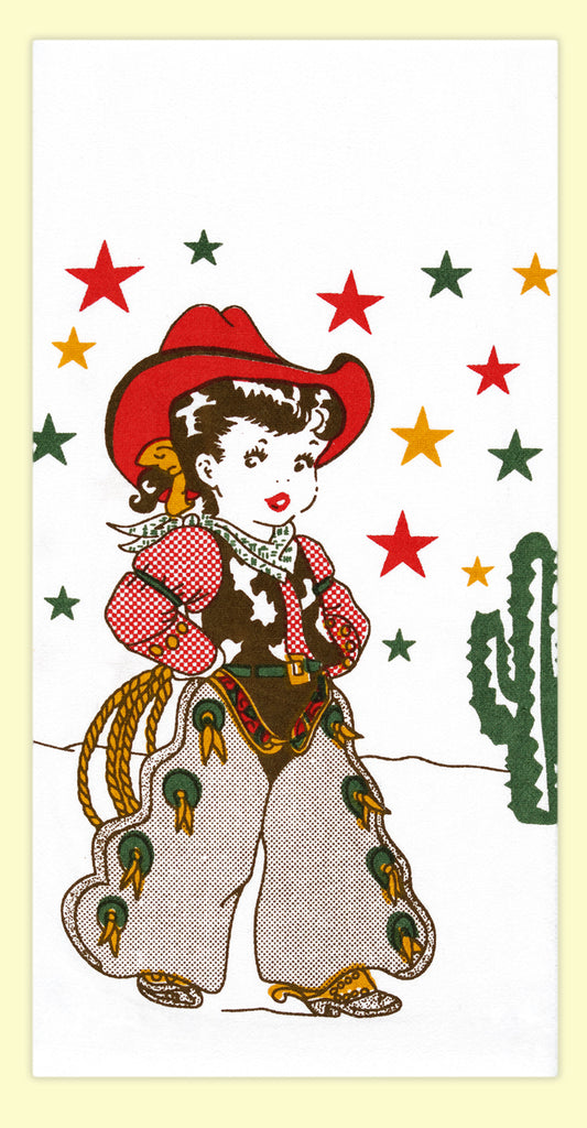 VINTAGE FLOUR SACK DISH TOWEL COWGIRL CALLIE FROM RED AND WHITE KITCHEN CO NEW