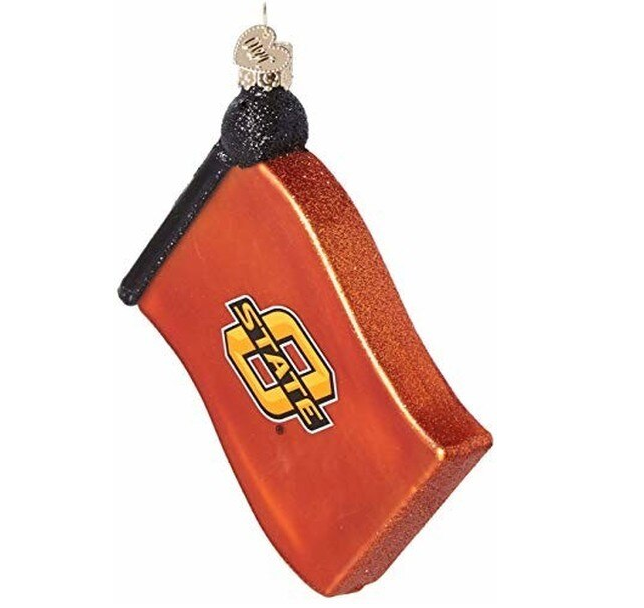 "Old World Christmas ""Oklahoma State University (OSU) Flag"" Glass Ornament"