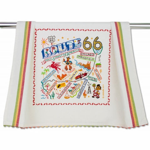 catstudio Hand-Loomed Dish Towel - Route 66 / OU / OSU