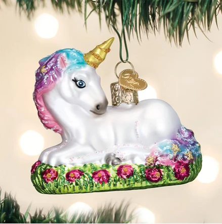 "Old World Christmas ""Baby Unicorn"" Glass Ornament"