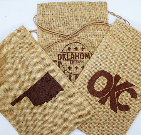 Burlap Bag - Oklahoma, OKC and Osage Shield