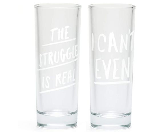 "About Face Designs - ""Can't Even / Struggle is Real"" Shot Glasses (Set of 2)"