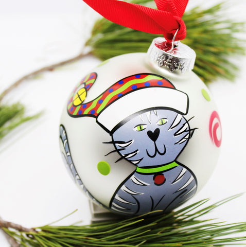 "Glory Haus ""Cat Ball"" Glass Ornament"