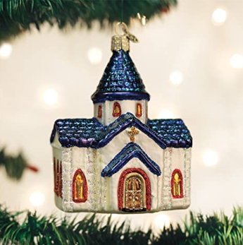 "Old World Christmas ""Devotional Church"" Glass Ornament"
