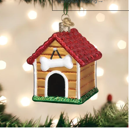 "Old World Christmas ""Dog House"" Glass Ornament"