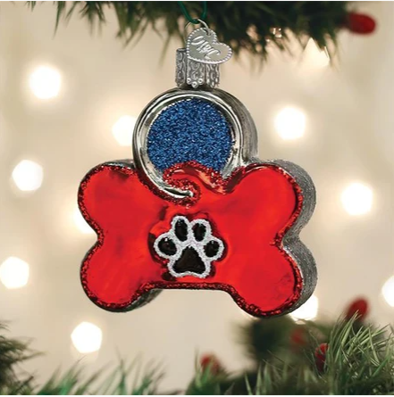 "Old World Christmas ""Dog Tag"" Glass Ornament"