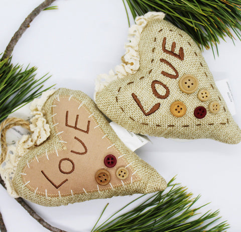 "Burlap Heart ""Love"" Ornament"