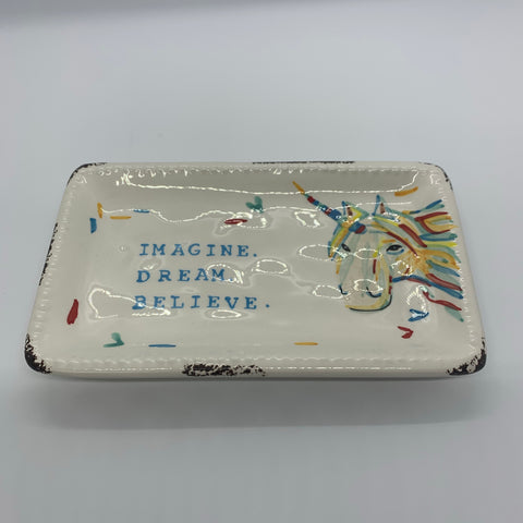 """Imagine. Dream. Believe."" Unicorn Trinket Tray"