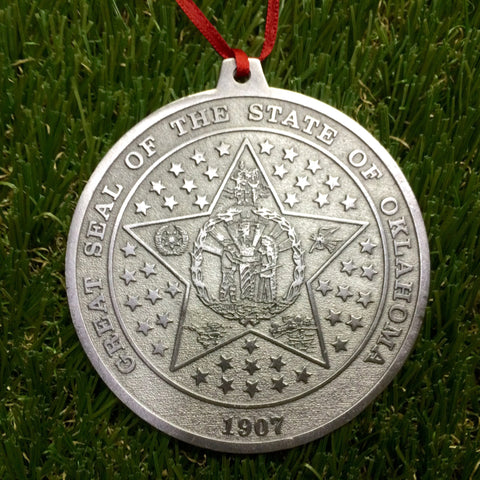 State of Oklahoma Seal Pewter Ornament