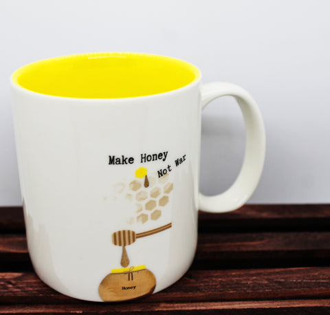 "180 Degrees ""Make Honey Not War"" Mug"