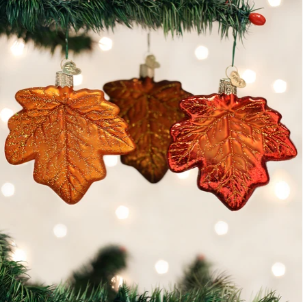 "Old World Christmas ""Maple Leaf"" Glass Ornament"