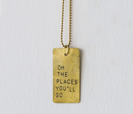 "Embellish ""Oh the Places You'll Go"" Copper Pendant Necklace"
