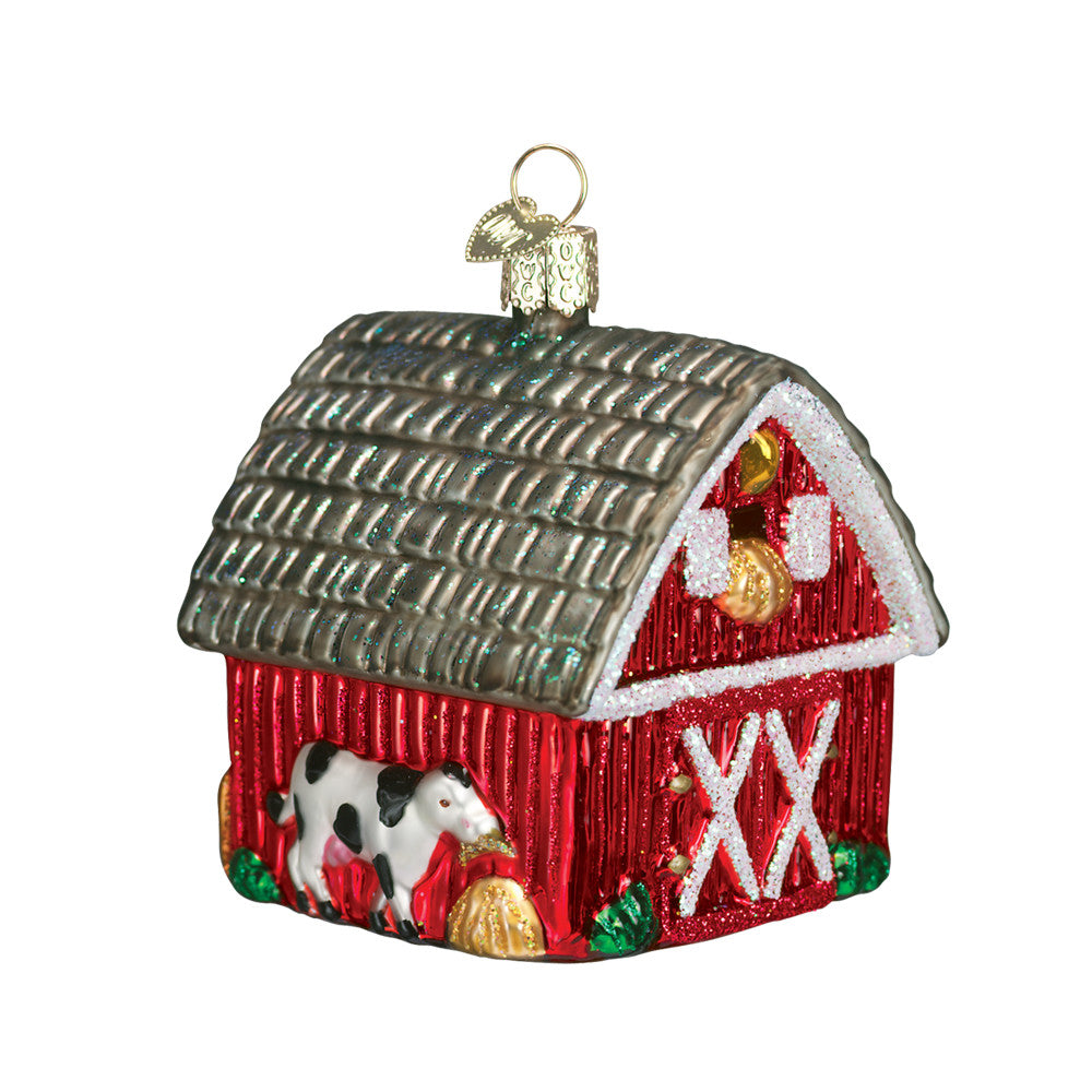 "Old World Christmas ""Barn"" Glass Ornament"
