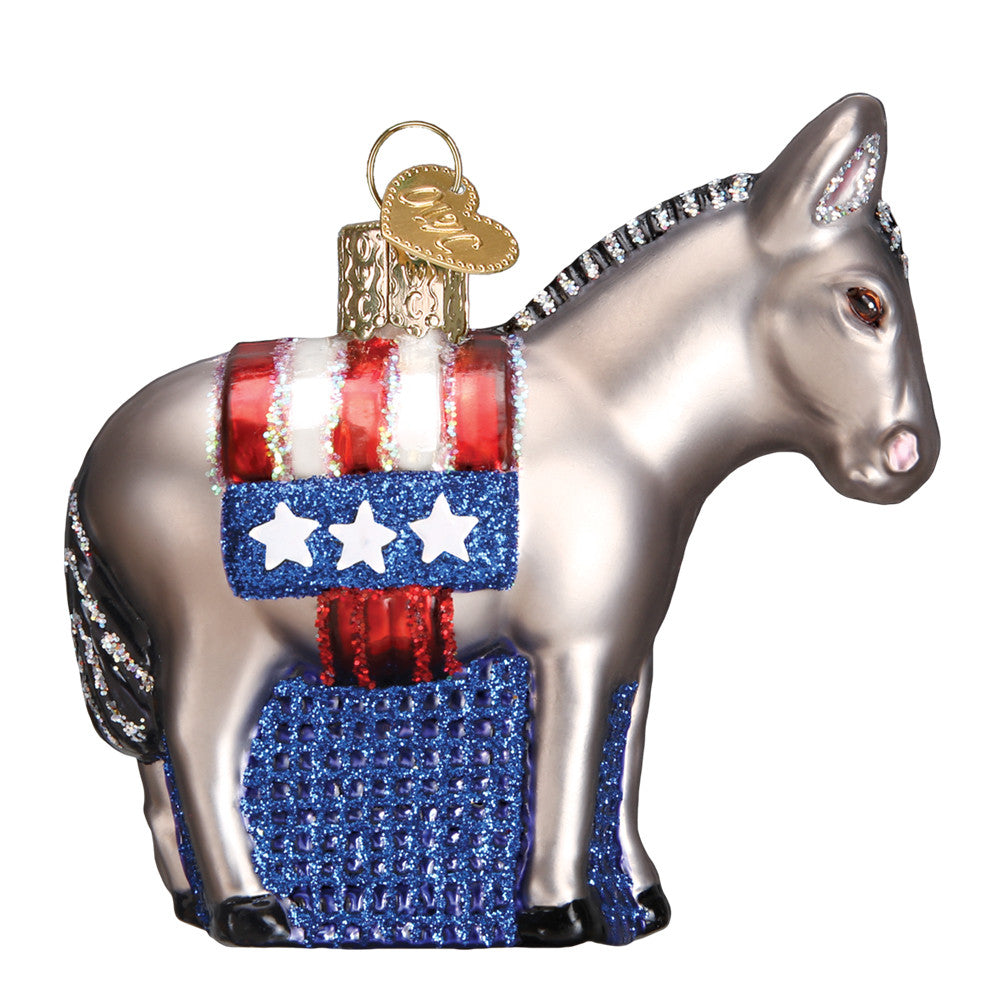 "Old World Christmas ""Democratic Donkey"" Glass Ornament"