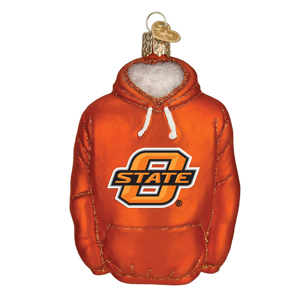 "Old World Christmas ""Oklahoma State Hoodie"" Glass Ornament"