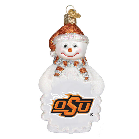 "Old World Christmas ""Oklahoma State Snowman"" Glass Ornament"