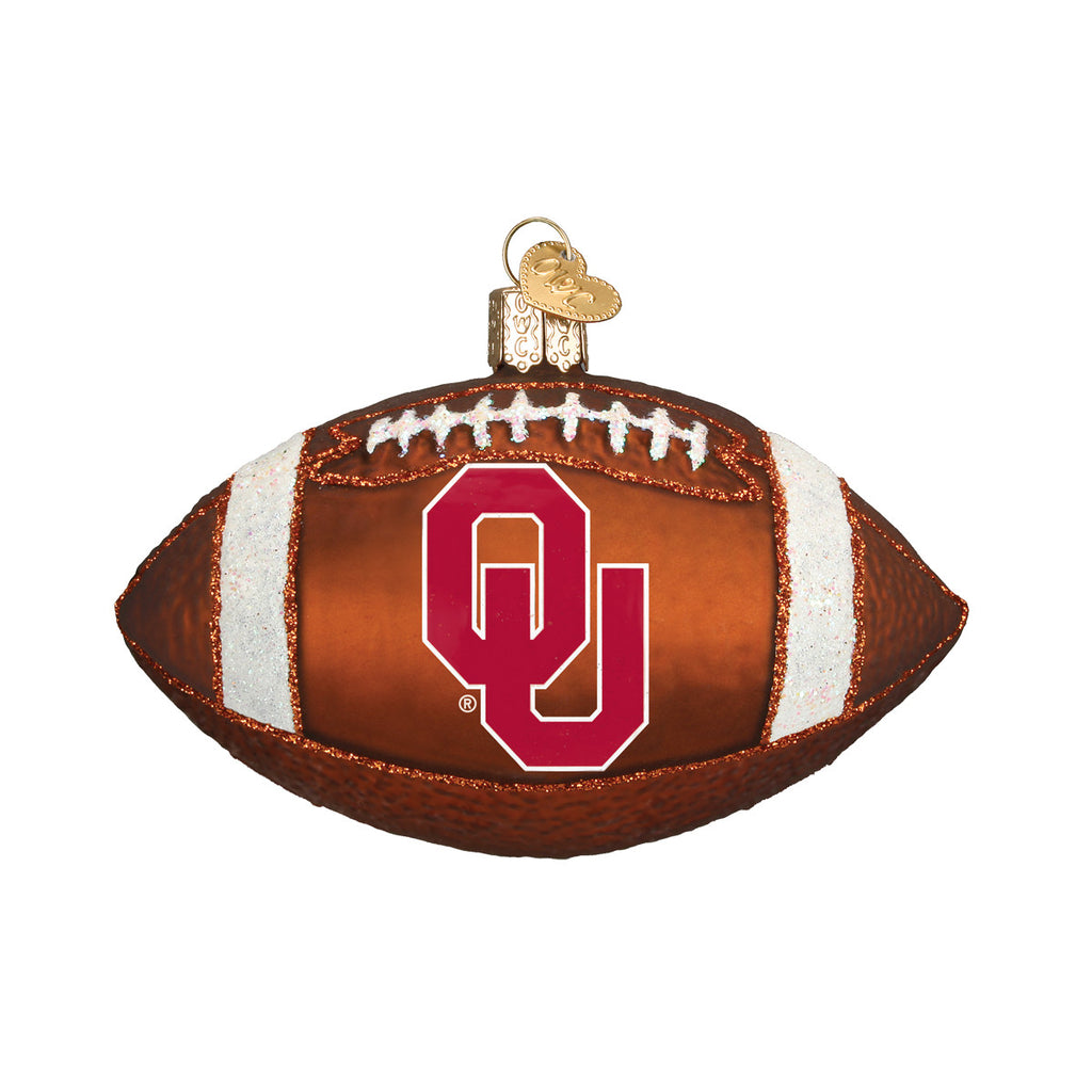 "Old World Christmas ""University of Oklahoma Football"" Glass Ornament"