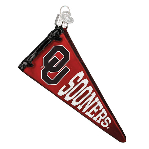 "Old World Christmas ""University of Oklahoma Pennant"" Glass Ornament"