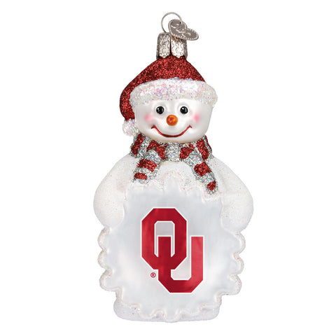 "Old World Christmas ""University of Oklahoma Snowman"" Glass Ornament"