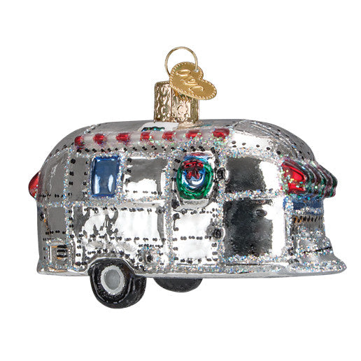 "Old World Christmas ""Vintage Trailer"" Glass Ornament"