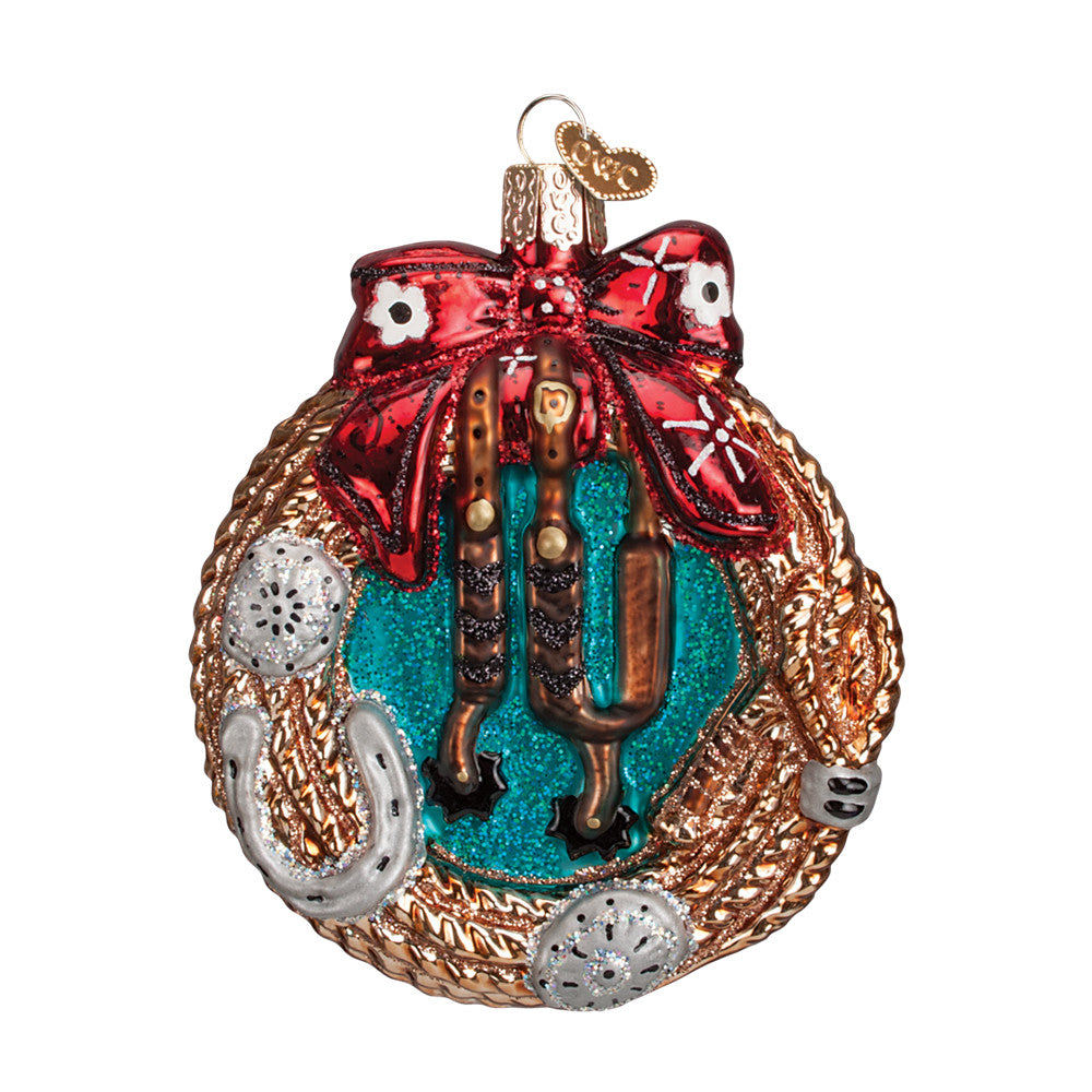 "Old World Christmas ""Western Wreath"" Glass Ornament"