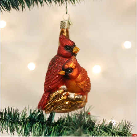 "Old World Christmas ""Pair of Cardinals"" Glass Ornament"