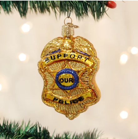 "Old World Christmas ""Police Badge"" Glass Ornament"