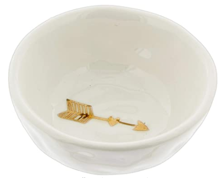 "White Ceramic Bowl with Gold Electroplated Arrow (4"" Round)"