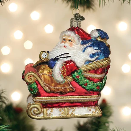 "Old World Christmas ""Santa in Sleigh"" Glass Ornament"