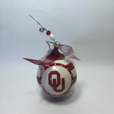 University of Oklahoma Striped Ornament